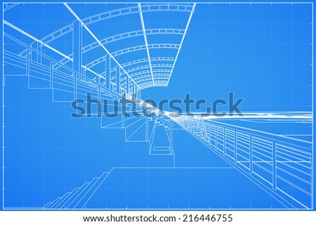 3D wireframe of soccer stadium - Vector illustration