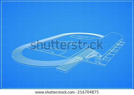 3D wireframe of soccer stadium - Vector illustration - stock vector