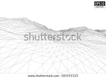 3D Wireframe Terrain (Wide Angle) | EPS10 Vector - stock vector