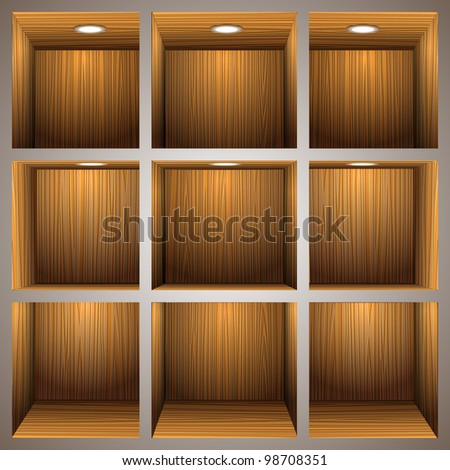 3d wooden shelves.Vector eps10 - stock vector
