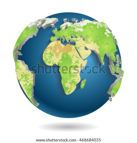 3d World Map Background Isolated Vector illustration