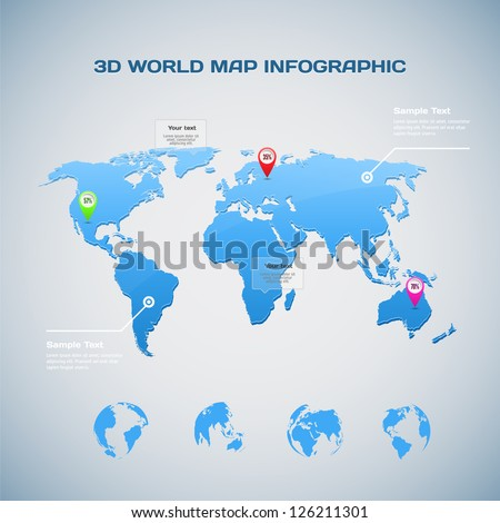 3D World map infographic with Globe icons - stock vector