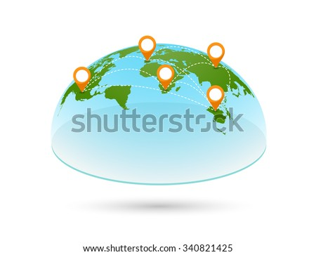 3D world map with pins. Global and earth, continent travel, vector geography, design planet illustration - stock vector