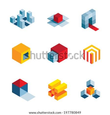 3D world startup idea creative virtual company element logo icons - stock vector