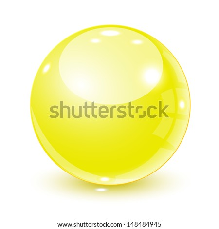 3d yellow ball  - stock vector