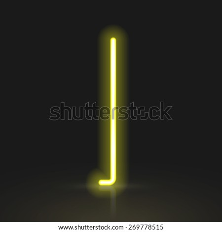 3d yellow neon light letter I isolated on black background - stock vector