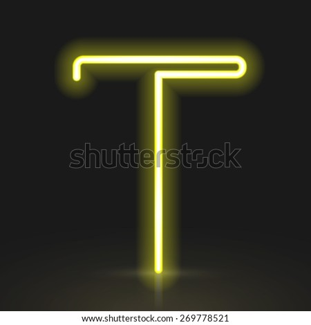3d yellow neon light letter T isolated on black background - stock vector