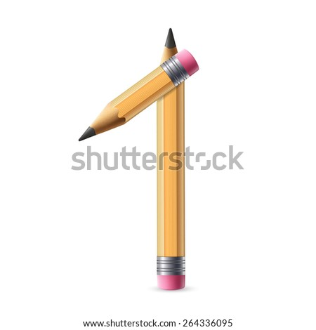 3d yellow pencil number 1 isolated on white background