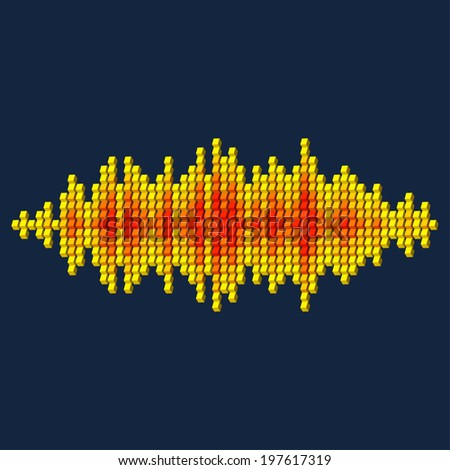 3D yellow sound waveform made of cube pixels - stock vector