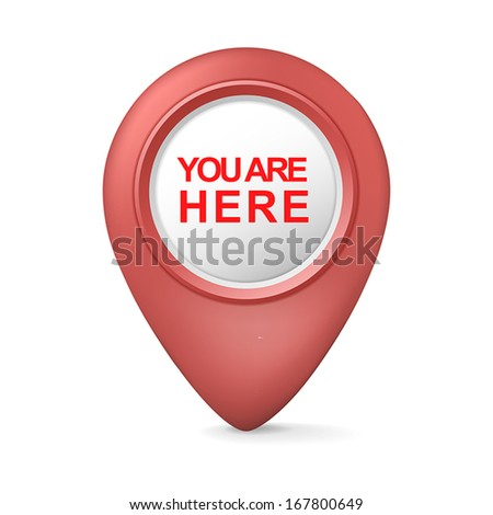 3d you are here symbol isolated white background - stock vector