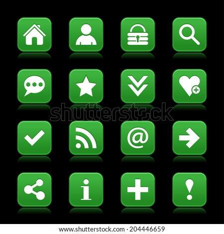 16 dark green satin icon with white basic sign on rounded square web button with color reflection on black background. This vector illustration internet design element save in 8 eps - stock vector