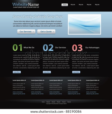 dark stylish website template for designers - black and light blue color - editable vector layout - stock vector
