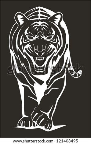 dark tiger - stock vector