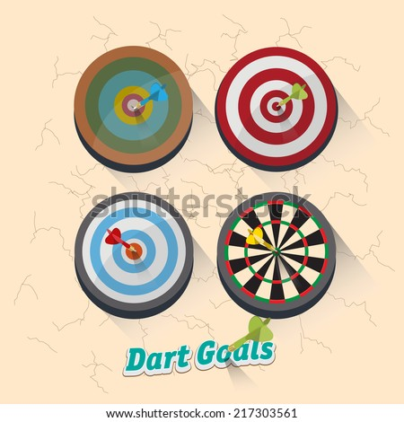 dartboard collection for darts game - vector illustration - stock vector
