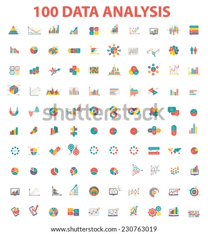 100 Data analysis icon set,Elements of info graphic design on white background,clean vector - stock vector