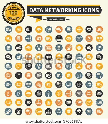 100 Data,networking,database server icon set,clean vector - stock vector