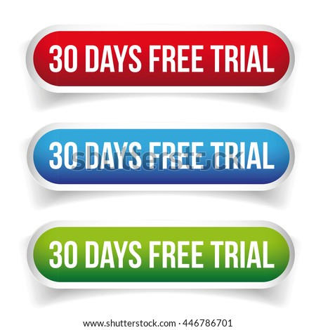 30 days free trial button vector set