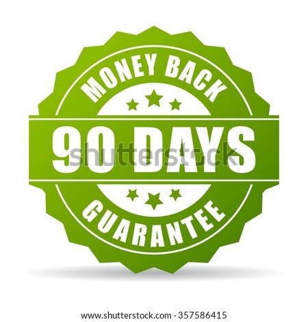 90 days money back green icon - stock vector