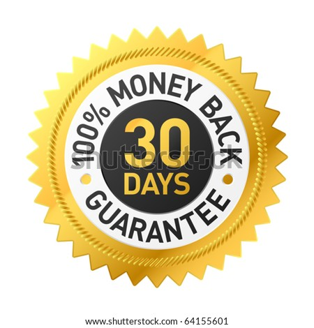 30 days money back guarantee label - stock vector
