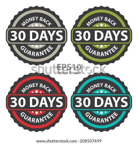 30 Days Money Back Guarantee on Vintage, Retro Sticker, Badge, Icon, Stamp Isolated on White, Vector Format - stock vector