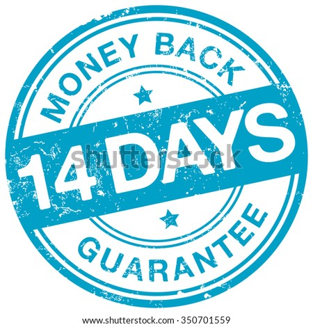 14 days money back guarantee stamp - stock vector