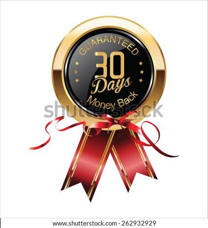 30 Days Money Back Guaranteed Badge - stock vector