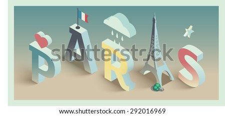 3de isometric vector paris postcard design