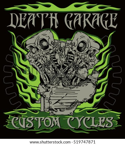 """Death garage custom cycles"" poster. Stylish handcrafted illustration of knuckle twin motorcycle engine with twin skeletons in ink technique. Biker poster, t-shirt design, tattoo idea."