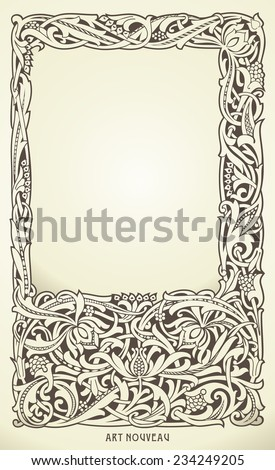 Decorative frame in art nouveau style. Detailed render