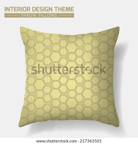 Decorative Throw Pillow design vector template. Original Honeycomb seamless pattern is complete, masked. Modern interior design element. Sofa Toss Pillow. Editable eps10 contains this pattern swatch. - stock vector
