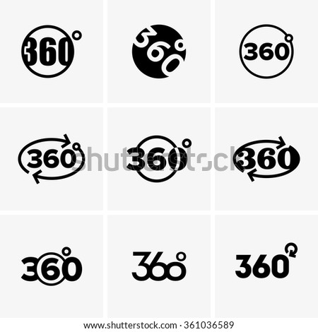 360 degrees signs - stock vector