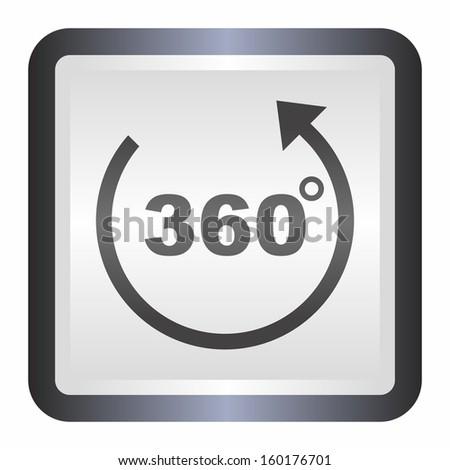 360 Degrees Symbol Elegance Silver Button Stock Vector 160176701