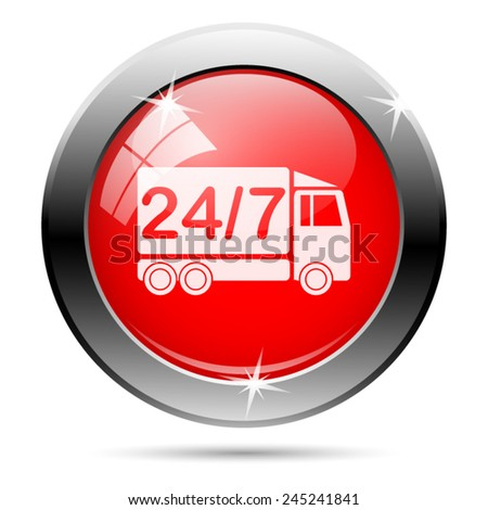 24 7 delivery truck icon. Internet button on white background.  - stock vector