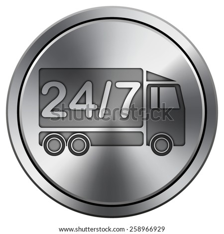 24 7 delivery truck icon. Internet button on white background. EPS10 Vector.  - stock vector
