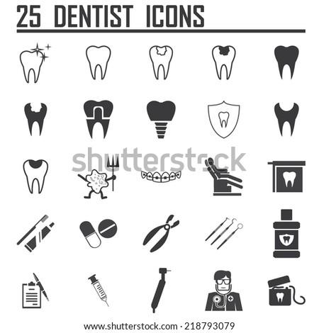 25 Dental Icons - stock vector