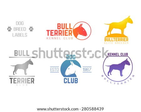 design logotypes, labels set of bill terrier god breed for kennels, breeders, clubs - stock vector