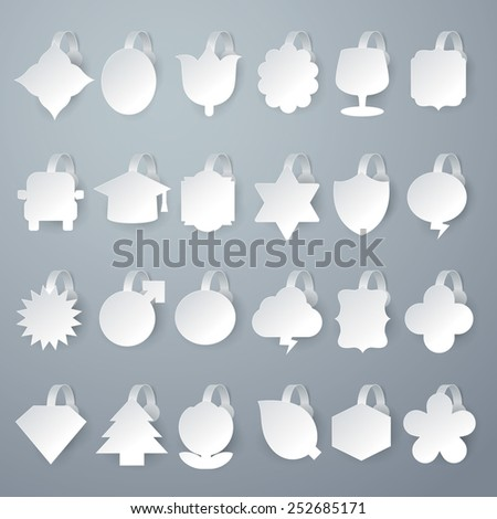 24 design of vector white wobbler on gray background. - stock vector