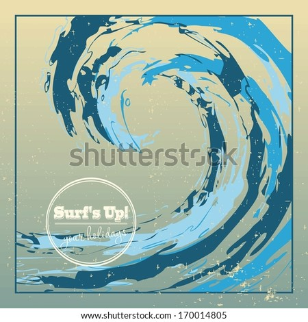 Design template rough surfing ocean wave falling down big drop - stock vector