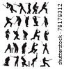 25 detail cricket poses in silhouette - stock photo