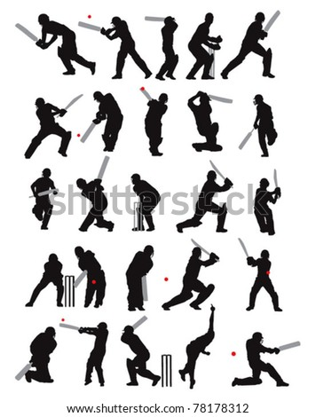 25 detail cricket poses in silhouette - stock vector