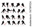 20 detail ice hockey poses in silhouette - stock photo