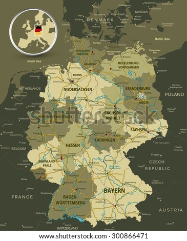Detailed map of Germany with highways, railroads and water objects. - stock vector
