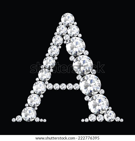 diamond letters with gemstones  - stock vector