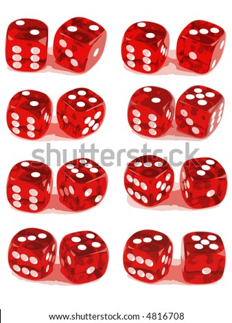 2 Dice Showing all number combinations (2 of 3). File 1ID:4816705 File 3 ID:4816711 - stock vector