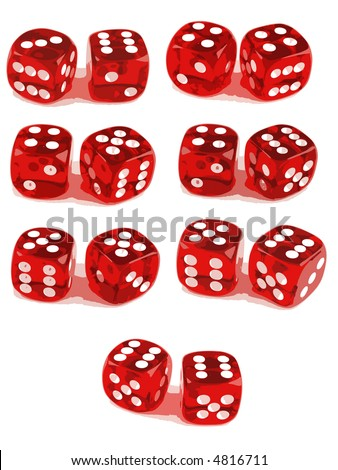2 Dice Showing all number combinations (3 of 3). File 1ID:4816705 File 2 ID:4816708 - stock vector