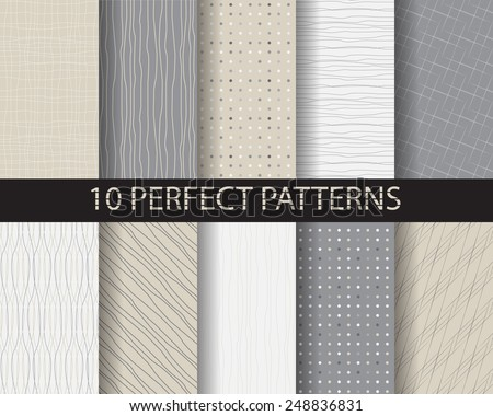 10 different beautiful classic linear , dot seamless  patterns. Endless texture can be used for wallpaper, pattern fills, web page background,surface textures,tile, greeting card, scrapbook, backdrop - stock vector