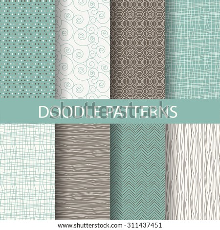 8 different beautiful doodle, dot patterns. Endless texture can be used for wallpaper, pattern fills, web page background,surface textures,tile, greeting card, scrapbook, backdrop - stock vector