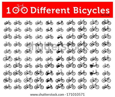 100 Different Bicycle Silhouette - stock vector