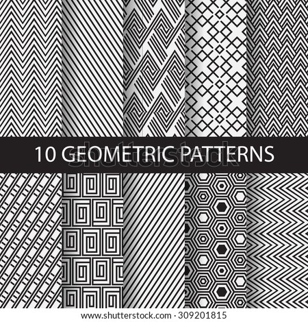 10 different black and white stripes patterns, Swatches, vector, Endless texture can be used for wallpaper, pattern fills, web page,background,surface. vector illustration - stock vector
