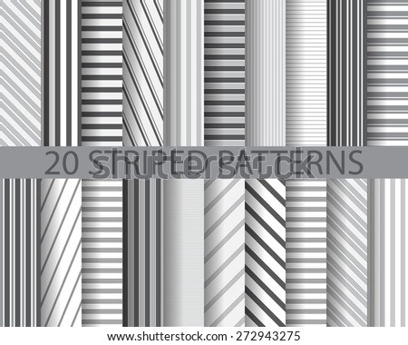 20 different black and white stripes seamless patterns, Pattern Swatches, vector, Endless texture can be used for wallpaper, pattern fills, web page,background,surface - stock vector